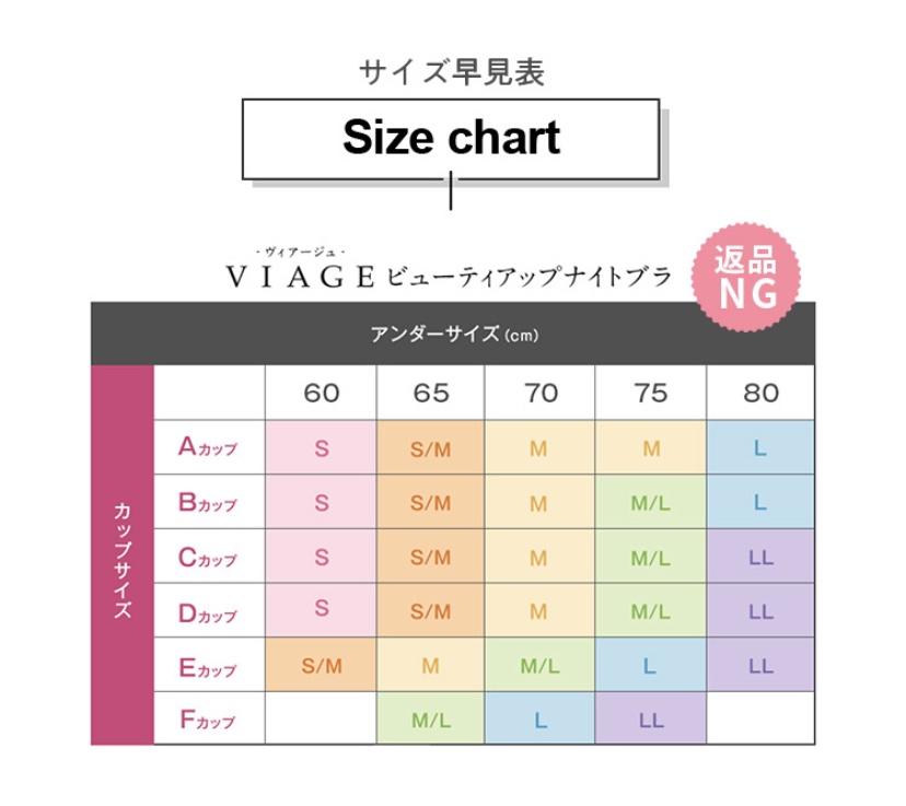 Viageビューティーナイトブラのサイズ早見表